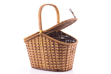 Lid-opened wicker basket isolated