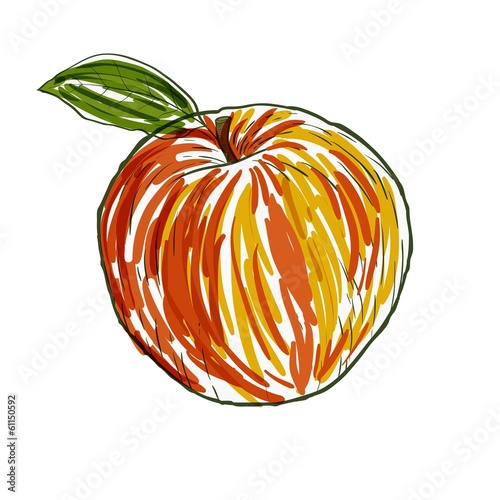 Watercolor apple in vector