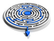 Round labyrinth with blue arrow output down