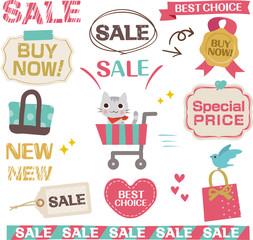 ショッピング、セールのかわいい素材