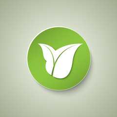 green eco icon with leaves