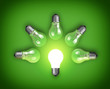 Idea concept with light bulbs and glowing bulb