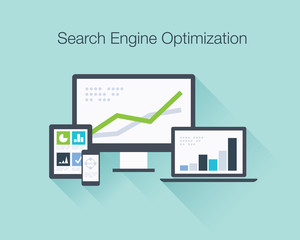 Search Engine Optimization flat icon illustration vector concept