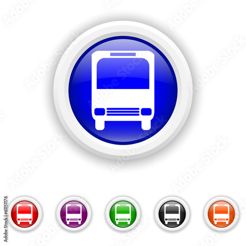 Bus icon - six colours set vector