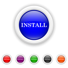Install icon - six colours set vector