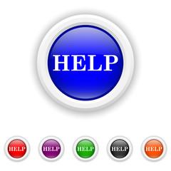 Help icon - six colours set vector