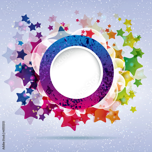abstract design round frame on a background with stars.