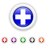 Medical cross icon - six colours set vector
