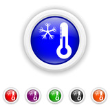 Snowflake with thermometer icon - six colours set vector