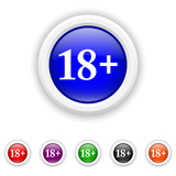 18 plus icon - six colours set vector