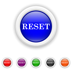 Reset icon - six colours set vector