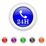 24H phone icon - six colours set vector