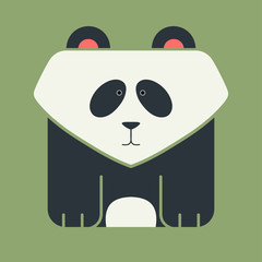 Flat square icon of a cute giant panda