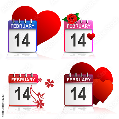 Set calendars Valentines - white background