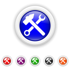 Tools  icon - six colours set vector