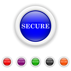 Secure icon - six colours set vector