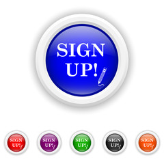 Sign up icon - six colours set vector