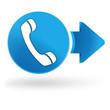 téléphone sur symbole web bleu