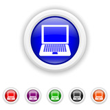 Laptop icon - six colours set vector
