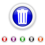 Bin icon - six colours set vector