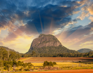 Glass House Mountains National park in Australia with dramatic s