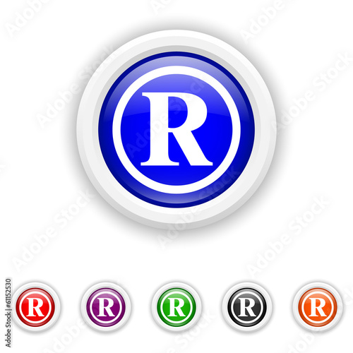 Registered mark icon - six colours set vector