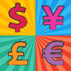 pop art currency symbol