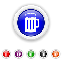 Beer icon - six colours set vector