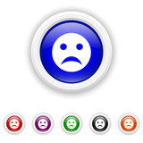 Sad smiley icon - six colours set vector