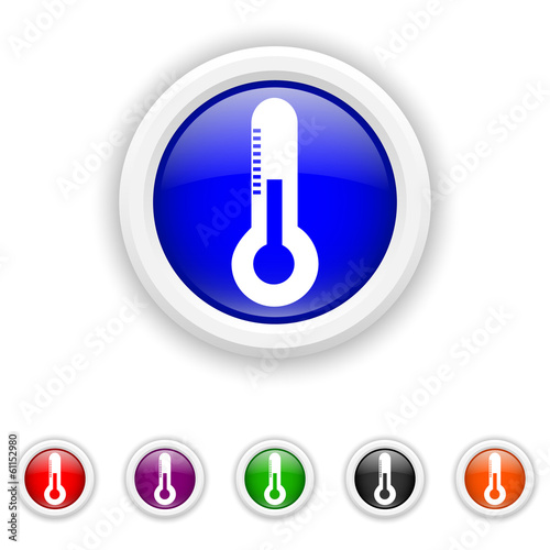 Thermometer icon - six colours set vector