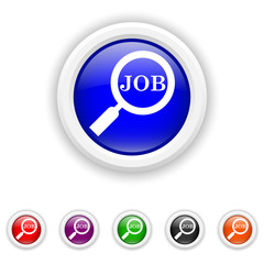 Search for job icon - six colours set vector