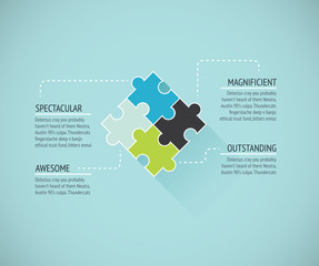 Puzzle piece flat infographics business concept vector