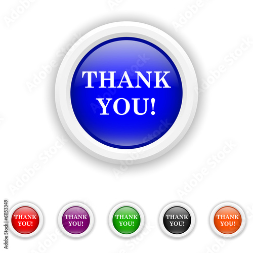 Thank you icon - six colours set vector