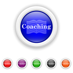 Coaching icon - six colours set vector