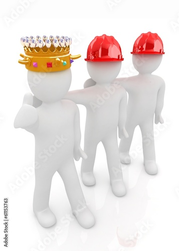 3d people - man, person with a golden crown. King with person wi