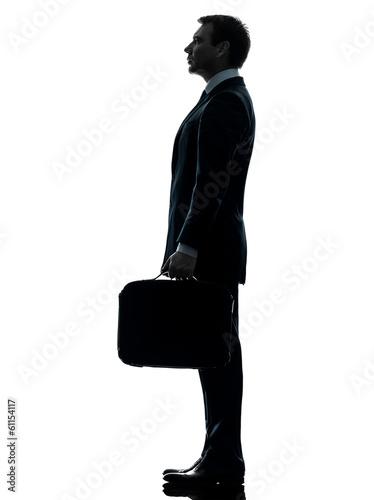 business man standing proflie silhouette