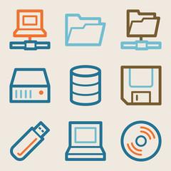 Drive storage web icons, vintage series