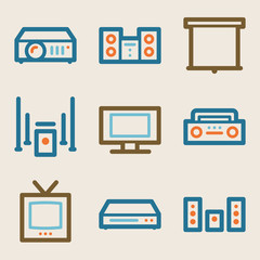 Audio video web icons, vintage series
