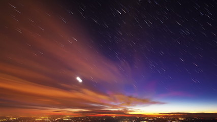 Star lights should leave traces of cities. Time Lapse