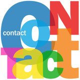 CONTACT Letter Collage (icons us details customer service help)