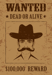 western vector poster, wanted dead or alive,  cowboy face,