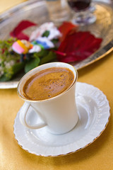 Hot cup of authentic Turkish coffee