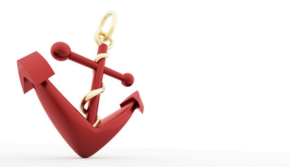 Red anchor isolated