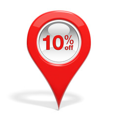 Sales round pin with 10% off isolated on white