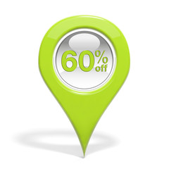 Sales round pin with 60% off isolated on white