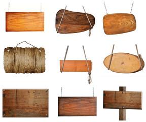 verschiedene Holzschilder Holz Strick