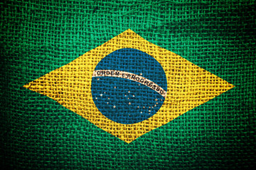 Brazil flag on coffee sack texture