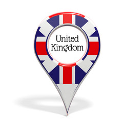 3D pinpoint with flag of United Kingdom isolated