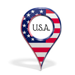3D pinpoint with flag of United States isolated
