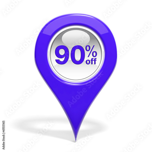Sales round pin with 90% off isolated on white